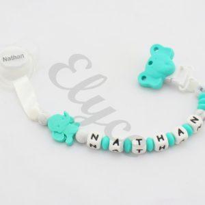 attache tétine sucette doudou pacifier clip en silicone éléphant NATHAN 3