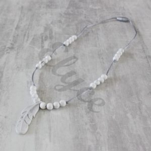 collier de dentition plume marbre teething necklace silicone jewellery