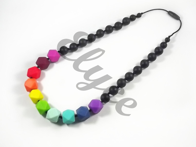 Modèles Colliers Perles Maternelle : Collier de dentition en perles silicone arc ciel